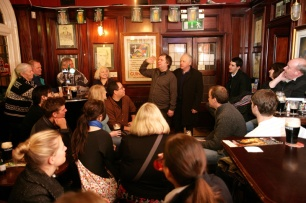 Colm Quilligan & Derek Reid ,O'Neills pub suffolk st. Dublin Literary Pub Crawl Literary Dublin Secret Ireland Pix Ronan Lang/Feature File
